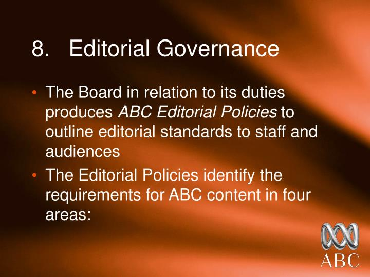 8.	Editorial Governance