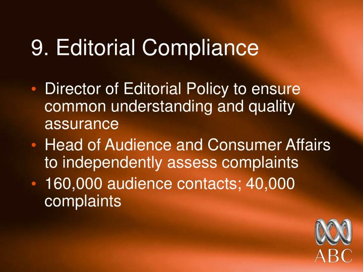 9. Editorial Compliance