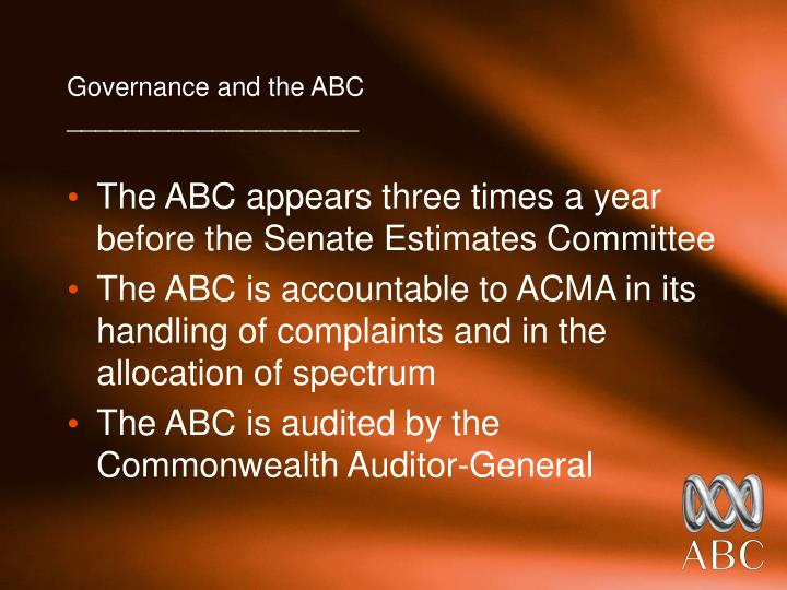 Governance and the ABC