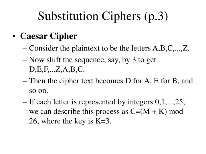 Substitution ciphers p 3
