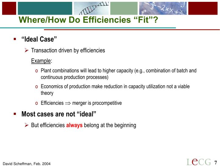 "Where/How Do Efficiencies ""Fit""?"