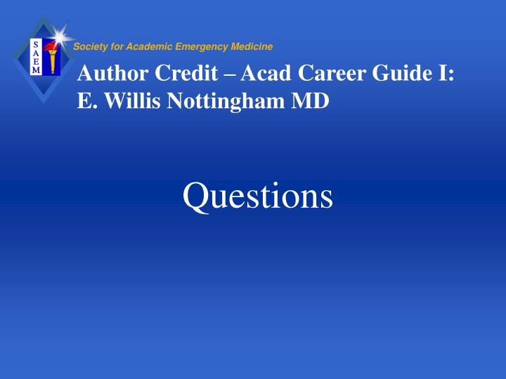 Author Credit – Acad Career Guide I: