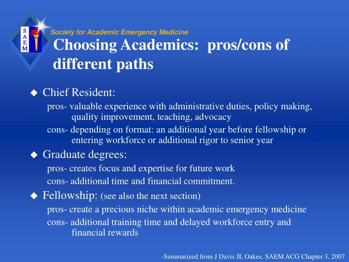 Choosing Academics:  pros/cons of different paths