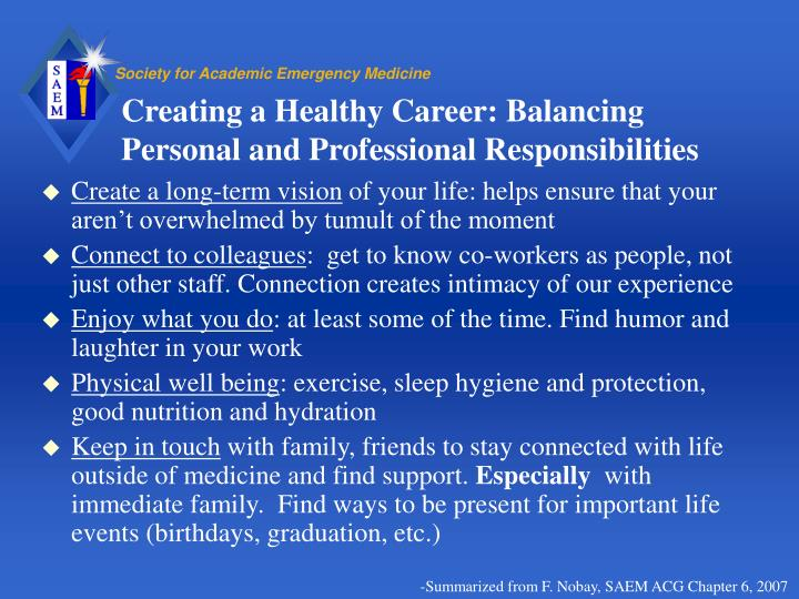 Creating a Healthy Career: Balancing Personal and Professional Responsibilities