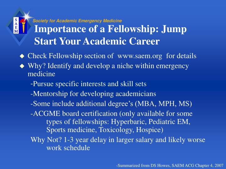 Importance of a Fellowship: Jump Start Your Academic Career