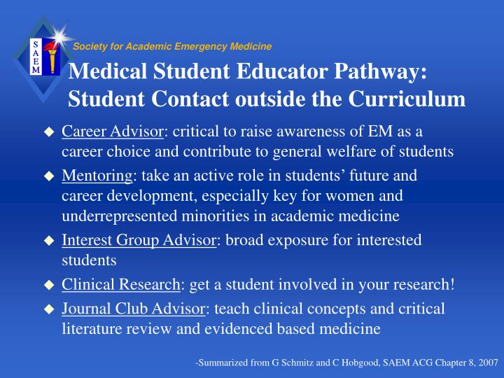 Medical Student Educator Pathway:
