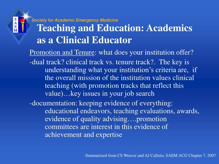 Teaching and Education: Academics as a Clinical Educator
