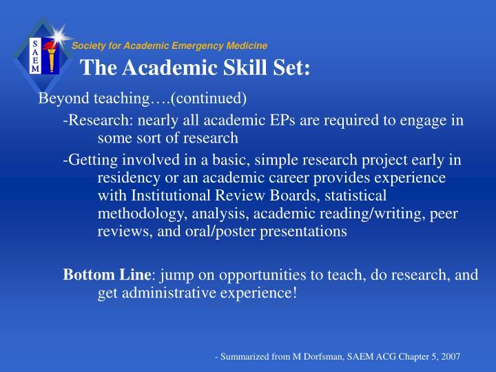 The Academic Skill Set: