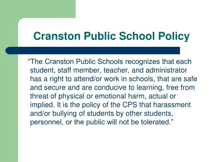 Cranston Public School Policy