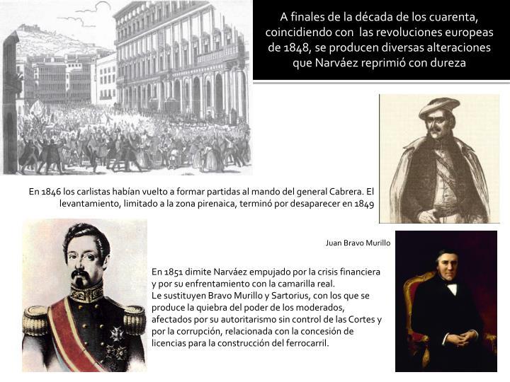 A finales de la década de los cuarenta, coincidiendo con  las revoluciones europeas de 1848, se producen diversas alteraciones que Narváez reprimió con dureza
