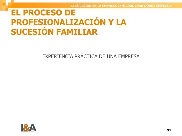 EL PROCESO DE PROFESIONALIZACIÓN Y LA SUCESIÓN FAMILIAR