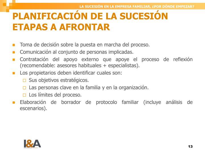 PLANIFICACIÓN DE LA SUCESIÓN ETAPAS A AFRONTAR