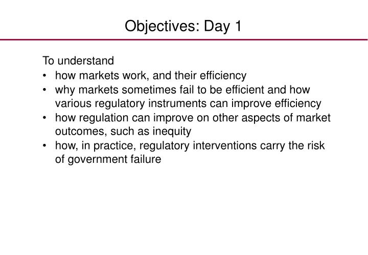 Objectives day 1