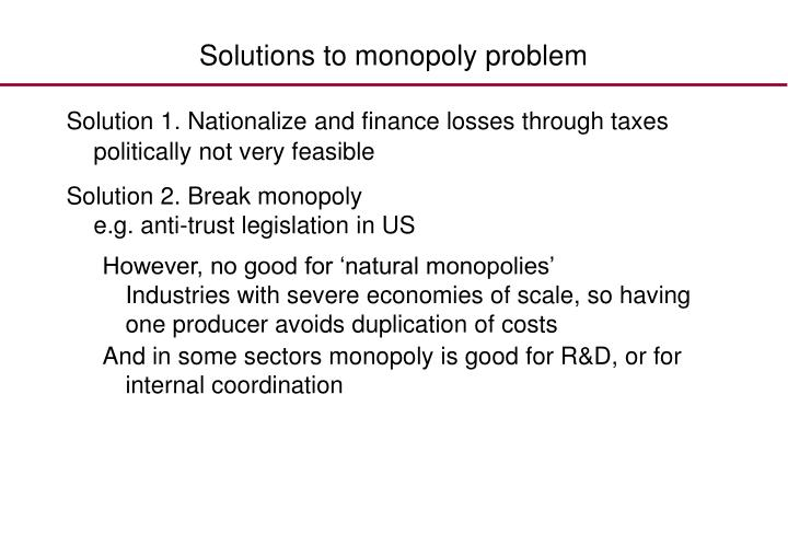 Solutions to monopoly problem