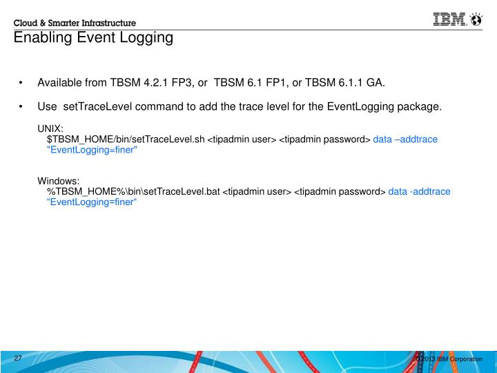 Enabling Event Logging