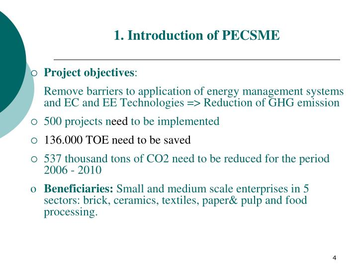 1. Introduction of PECSME