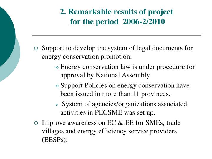 2. Remarkable results of project