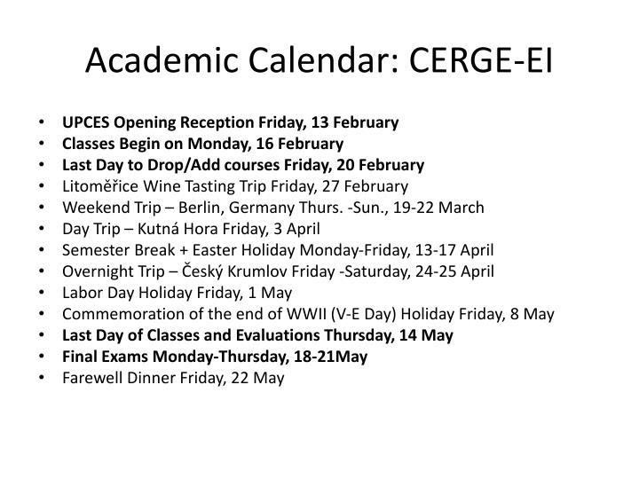 Academic Calendar: CERGE-EI