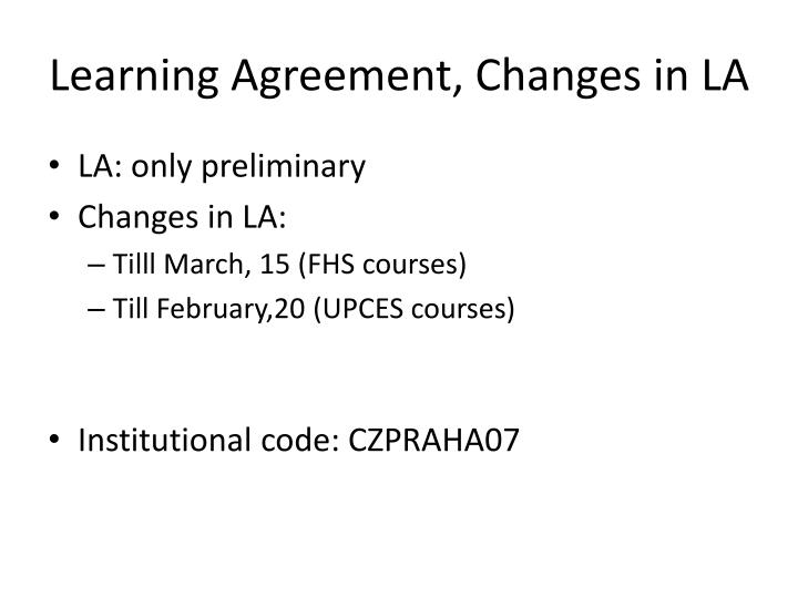 Learning Agreement, Changes in LA