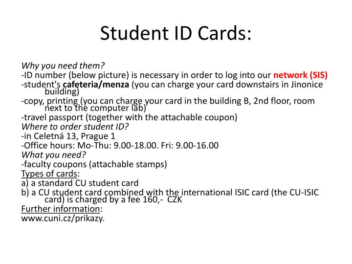 Student ID Cards: