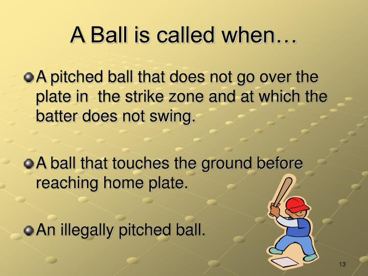 A Ball is called when…