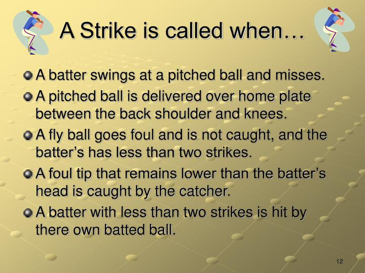 A Strike is called when…