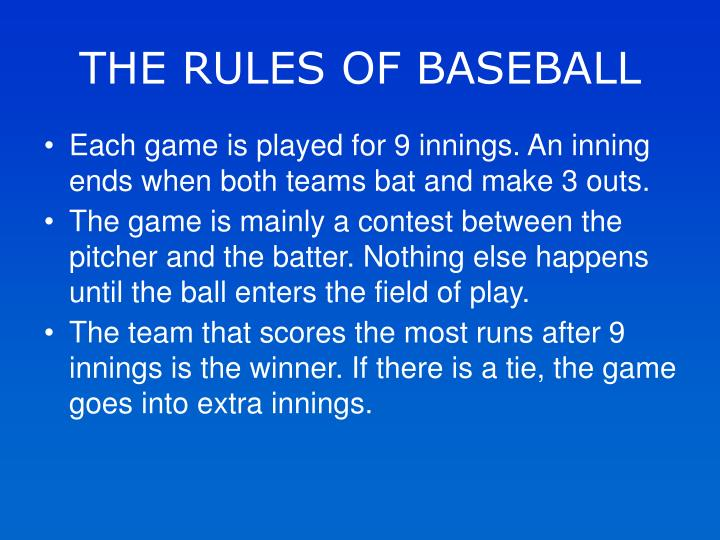 THE RULES OF BASEBALL