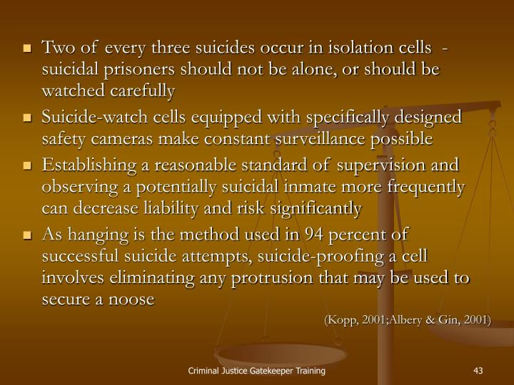 Two of every three suicides occur in isolation cells  - suicidal prisoners should not be alone, or should be watched carefully