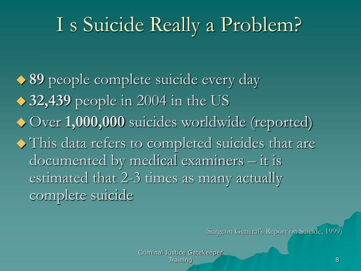I s Suicide Really a Problem?