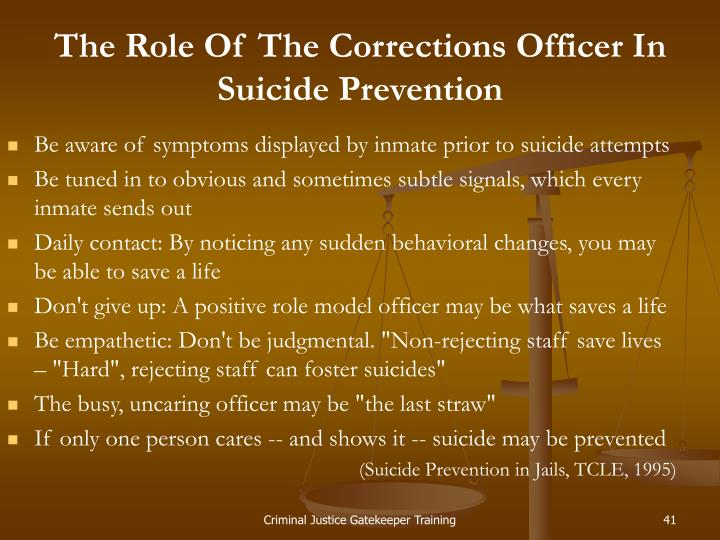 The Role Of The Corrections Officer In Suicide Prevention