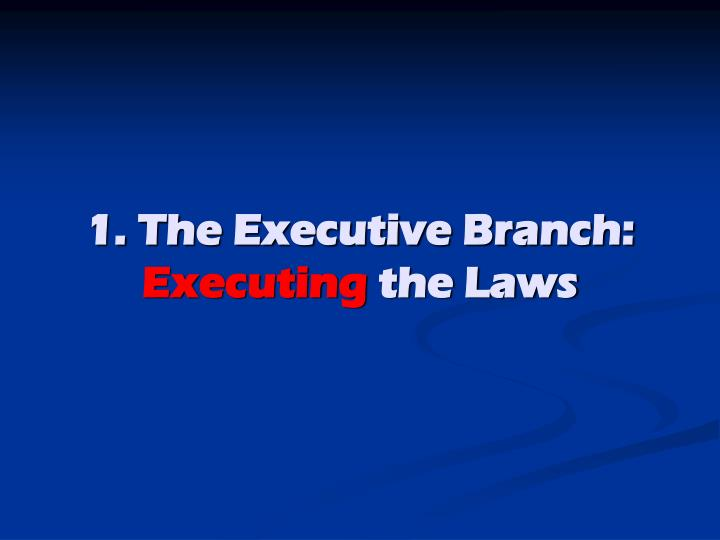 1 the executive branch executing the laws