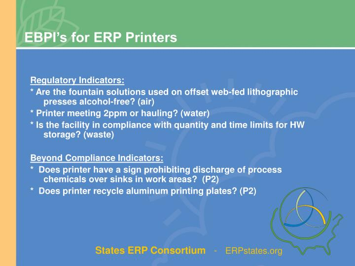 EBPI's for ERP Printers