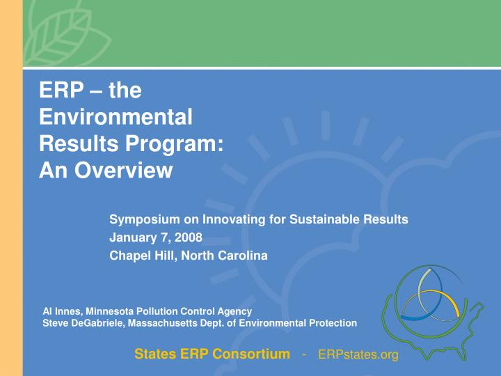 Erp the environmental results program an overview