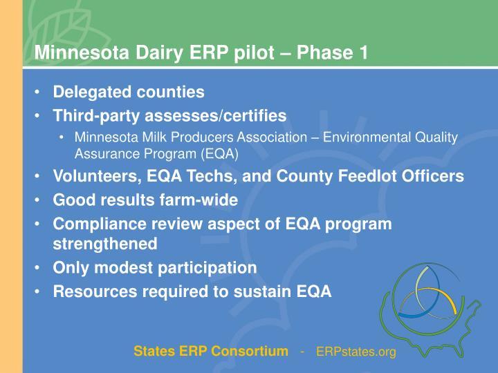 Minnesota Dairy ERP pilot – Phase 1