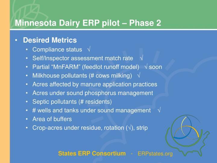 Minnesota Dairy ERP pilot – Phase 2