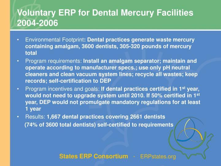 Voluntary ERP for Dental Mercury Facilities      2004-2006