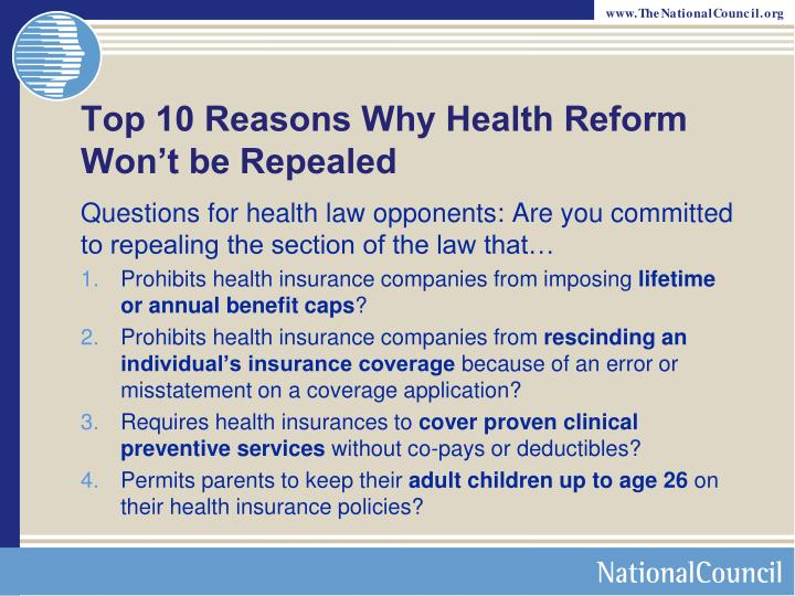 Top 10 Reasons Why Health Reform Won't be Repealed
