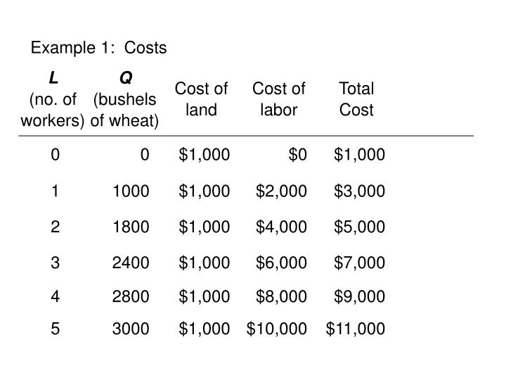 Example 1:  Costs