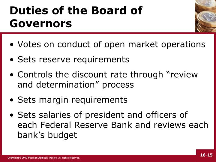 Duties of the Board of Governors