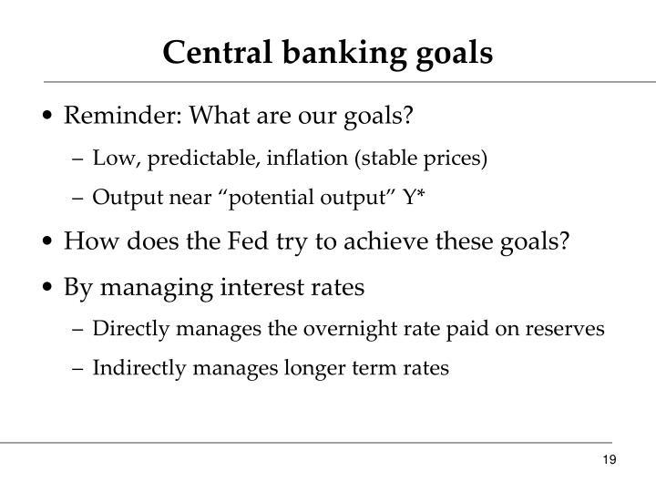 Central banking goals
