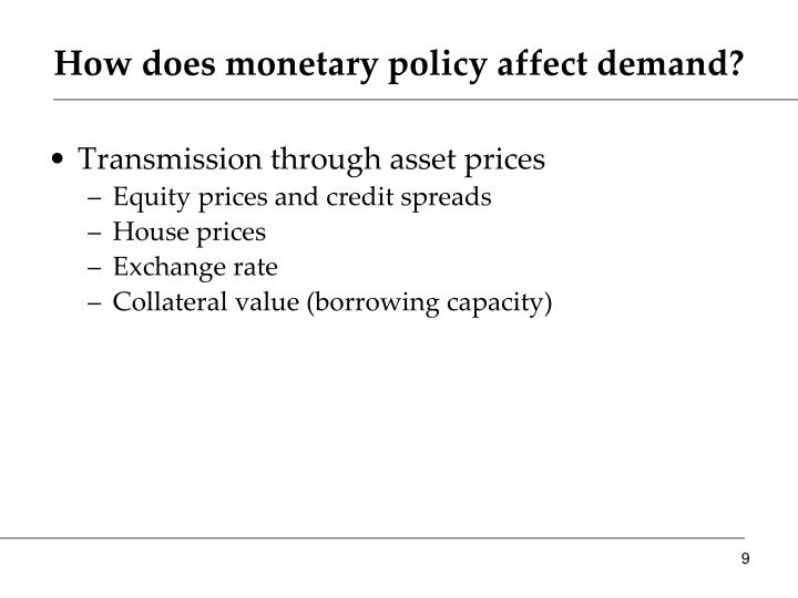 How does monetary policy affect demand?