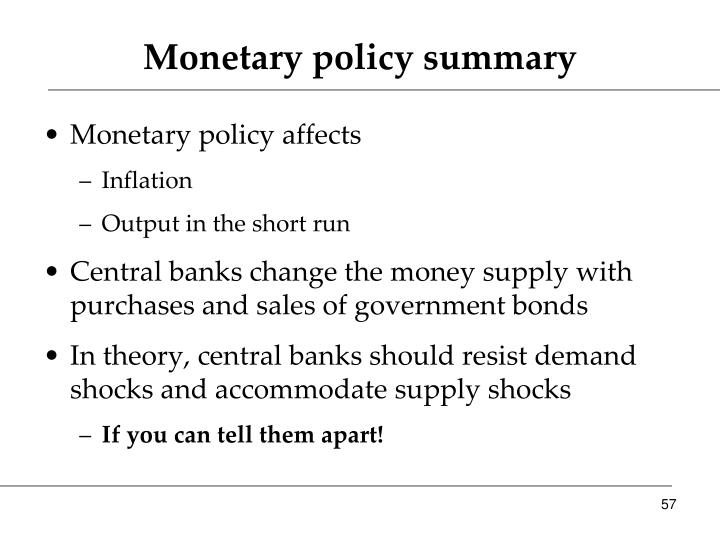 Monetary policy summary
