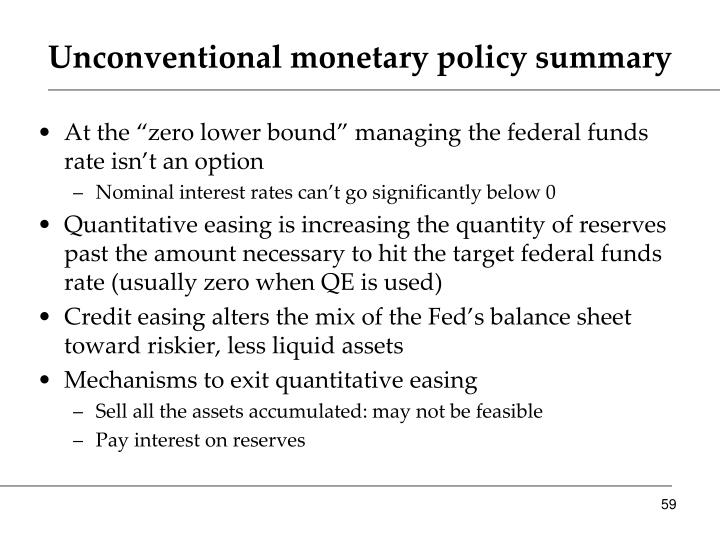 Unconventional monetary policy summary