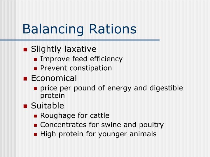 Balancing Rations