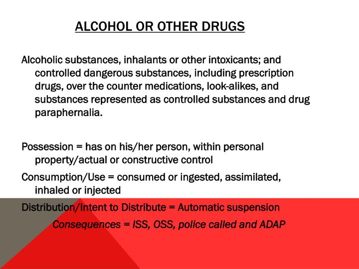 Alcohol or Other Drugs
