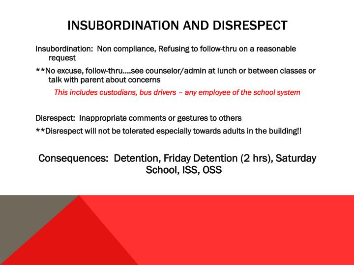 Insubordination and disrespect