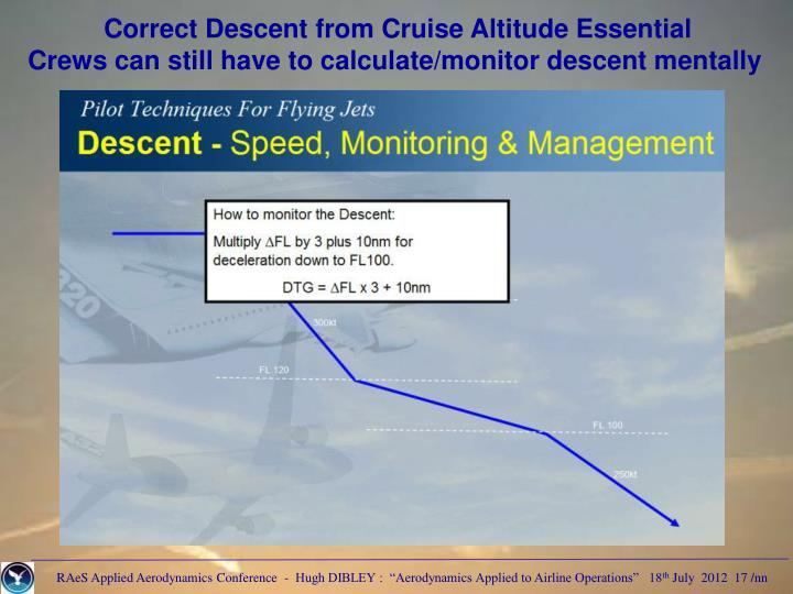 Correct Descent from Cruise Altitude Essential