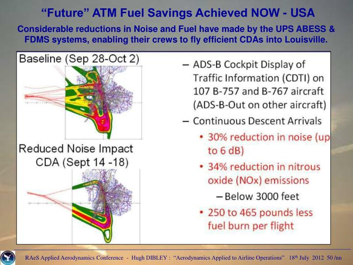 """Future"" ATM Fuel Savings Achieved NOW - USA"
