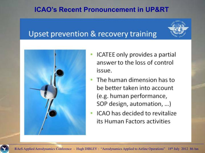 ICAO's Recent Pronouncement in UP&RT