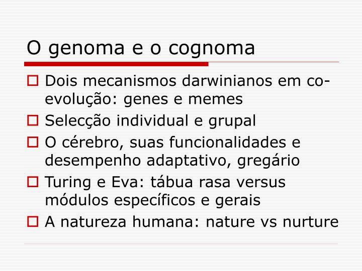 O genoma e o cognoma